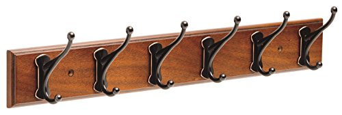 "Franklin Cheek FBWIND6-BOB-R 24"" Rail with 6 Windom Hooks in Bark and Oil-rubbed Bronze"