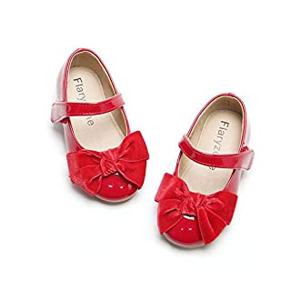Bow/Cross Strap Dress Ballet Flat Mary Jane Shoes for Toddlers/Little Girls (Red)