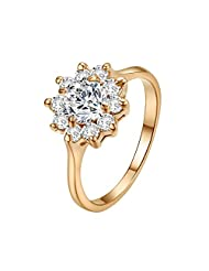 Yoursfs 18k Rose Gold Plated Sunflower Cubic Zirconia CZ Bridal Wedding Jewelry Ring