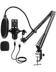 ميكروفون USB مكثف احترافي للكمبيوتر، طقم ميكروفون كارديودي بتردد 192 كيلو هرتز/ 24 بت مع ذراع بوم، مقاوم للصدمات، مع بوب فلتر ومصد رياح، مناسب لليوتيوب، البودكاست، الكاريوكي، الالعاب، والغناء