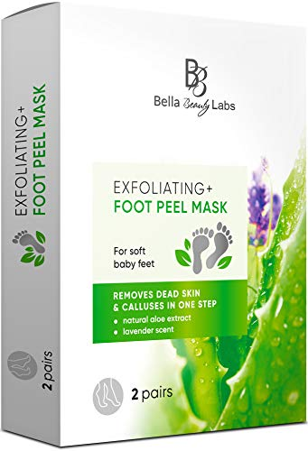 Exfoliating Foot Peel Mask for Smooth Soft Touch Feet - 2 Pairs per Box - Peeling away Calluses and Dead Skin Remover. Repair Rough Heels 2 packs - Baby Foot Gel Socks Booties - Natural Aloe Extract