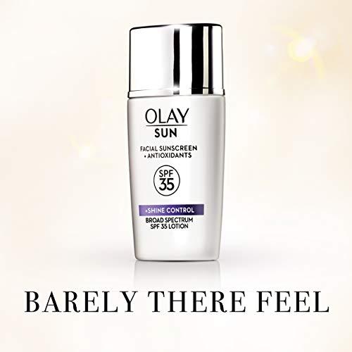 Olay Facial Sunscreen and Antioxidants Sun, SPF 35 Face Lotion + Shine Control, 1.3 Fl Oz