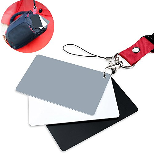Grey Card Set - White Balance Card, FOTYRIG Photograph Grey Card 18% Exposure Grey Card for Photography, Video, DSLR and Film Premium Exposure Card Set, Black White 3