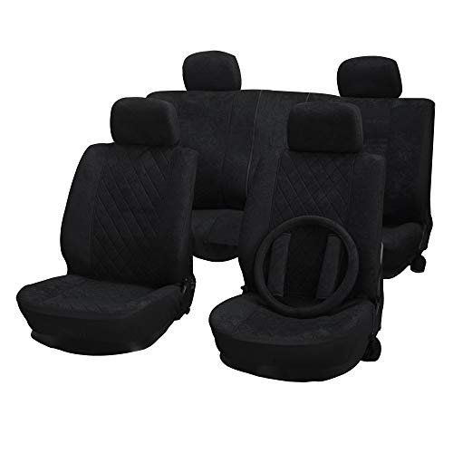 Volvo 940 Seat Belt - cciyu Seat Cover Universal Car Seat Cushion w/Headrest Cover/Steering Wheel Cover/Belt Pad - 100% Breathable Car Seat Cover Washable Auto Covers Replacement fit for Most Cars(Black)