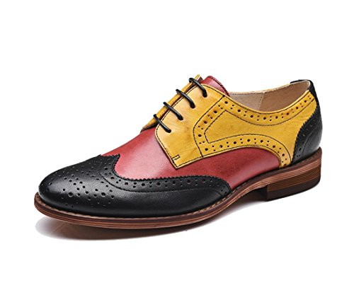 Flat Vintage Shoes Oxford Yellow up Leather Black Wingtip Perforated Dress Style2 Women's Lace TDA fS0zaz