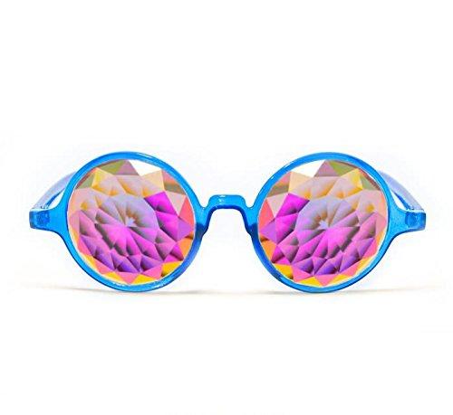 GloFX Transparent Blue Kaleidoscope Glasses - Rainbow Fractal - Flat Back by GloFX