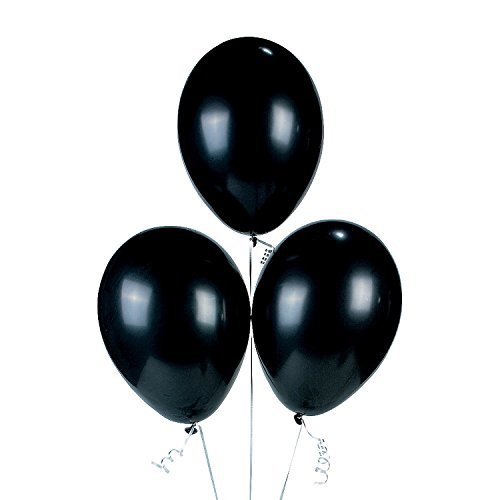 Fun Express Onyx Black Latex Balloons (2 Dozen), (Black Latex)