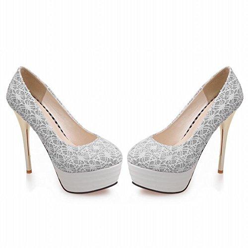 MissSaSa Damen elegant Plateau Pumps mit Stiletto Europa und USA Stil high-heels Party/Brautschuhe Weiß