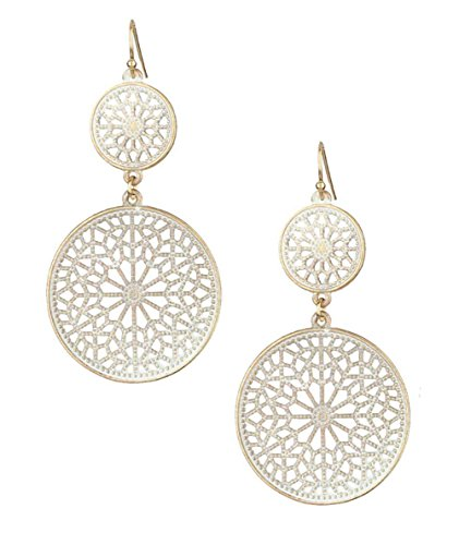 "Lacy Round Matte White Open Work Filigree Medallion Double Disk Dangle Drop Earrings 2 5/8"" Long"