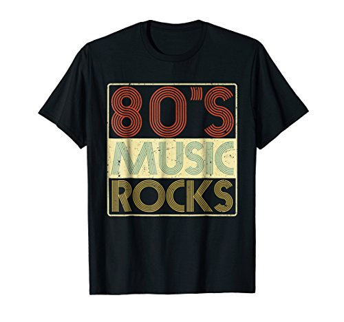 (80s Music Rocks T-Shirt Vintage Retro Distressed Eighties)
