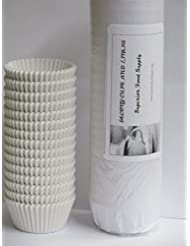 DECONY White Standard Size Cupcake Paper Fluted Baking Cup Liners - 2'' x 1-1/4=4.5 - appx.500/pack