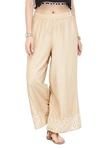 Manas Store Women's Wide Leg Palazzo Pants Elastic Waist Loose Plain Casual Trouser Yoga (M) (Kameez Trouser)