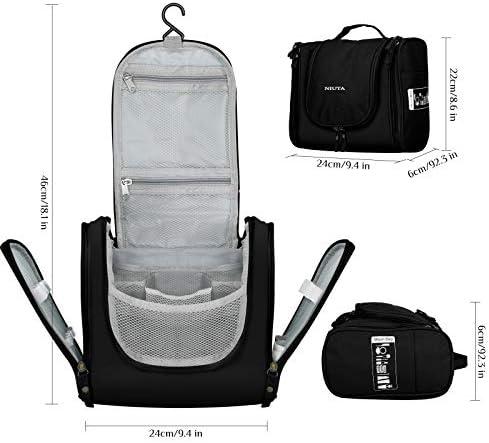 NIUTA Hanging Toiletry Bag Travel Large Wash Bag Waterproof Cosmetic Bag Makeup Organizer with Elastic Band Holders for Toiletries, Cosmetics, Makeup, Brushes (Black)