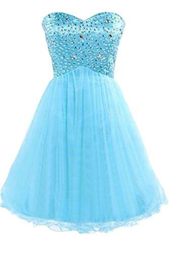 sunvary lentejuelas y brillantes una línea Sweetheart de tul corto fiesta fiesta vestidos de cóctel Azul