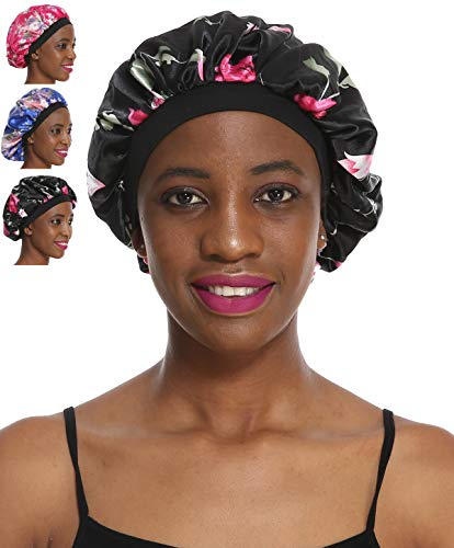 Satin Bonnet Sleeping Cap Hat - 3 Packs Floral Women Wide Band Salon Soft Patient Chemo Sleep Slouch Slouchy For Summer silk hair scarf for Long Curly Natural