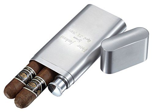 Personalized Toledo Brushed Stainless Steel 2 Finger Cigar Case with Flask