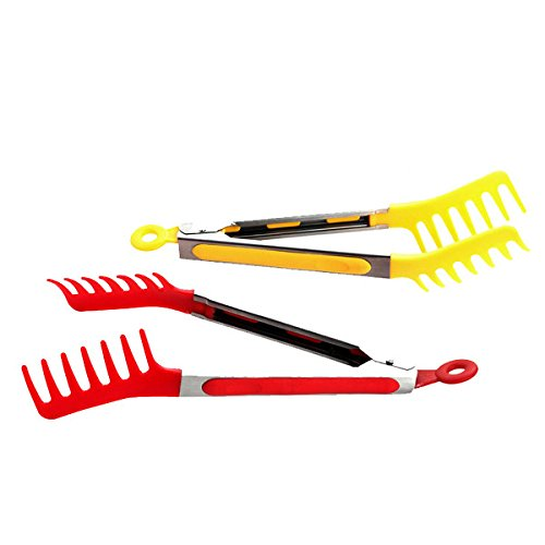 multicolor tongs  for spaghetti like stuff is shown in the picture.