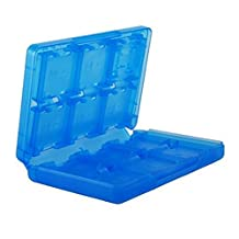 XFUNY (TM) 16 in 1 Protective Plastic Video Game Memory Card Storage Card Case Box Holder for Nintendo 3DS Card Case Blue