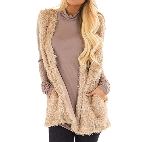 FEDULK Faux Fur Vest for Women Fall Winter Warm Waistcoat Sleeveless Coat Ladies Casual Outwear Jacket (Brown1, US Size L = Tag XL) ()