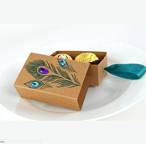 (100 Pcs Peacock Feather Candy Boxes 7.5 * 5cm Drawer Design Wedding Favors Faux Rhinestone Kraft Paper Gift Boxes)