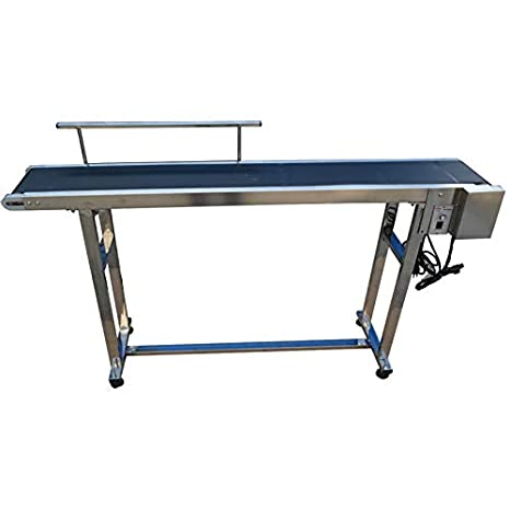 Sidasu Belt Conveyor PVC Belt Without guardrail 59 x 7.8 inch Conveyor Table Heavy Duty Stainless Steel Material