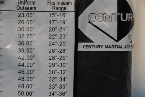 Century Martial Arts Karate Uniform with Belt Light Weight Black Cotton Elastic Waistband & Drawstring Size 000 - 7 for Adult & Children (Size 5 170-200lb 5ft 11in - 6ft 2in)