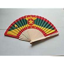 Grenada Flag Fabric Folding Hand Fan with Bamboo Handles