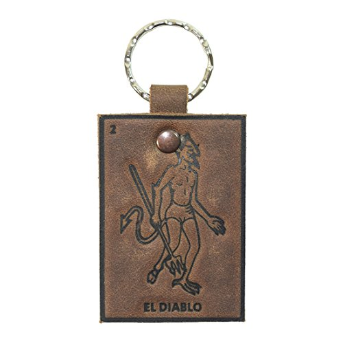 Lotería! Bourbon Brown Leather Keychain by Hide & Drink (El Diablo (Devil))