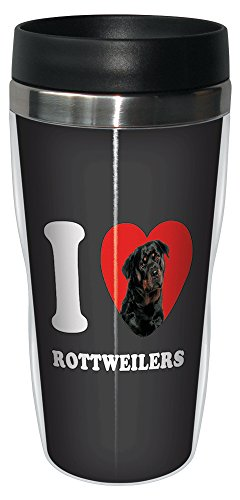 Tree-Free Greetings SG25110 I Heart Rottweiler's Sip 'N Go Stainless Lined Travel Tumbler, 16-Ounce ()