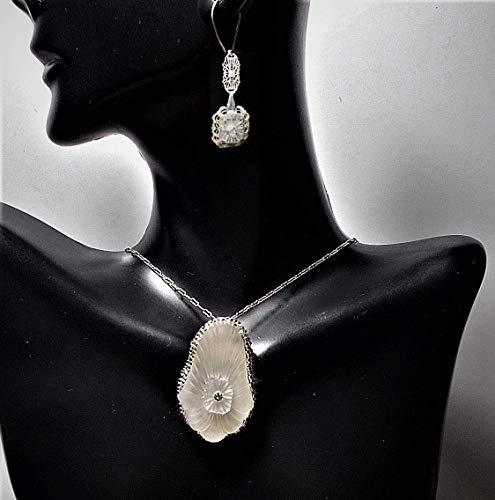 1920s Lovely Double Camphor Glass Flower Orchid in Silver Lined Crystal Seed Beads 17 1/2