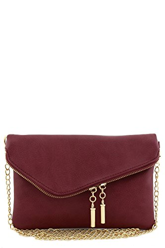 Burgundy Clutch - Envelope Wristlet Clutch Crossbody Bag with Chain Strap (Burgundy)
