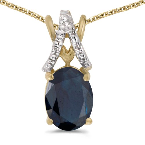 - 1.18 Carat (ctw) 14k Yellow Gold Oval Blue Sapphire and Diamond Women's Solitaire Pendant with 18