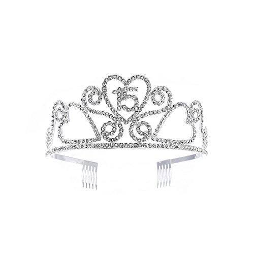 FF Sweet 15 Rhinestone Birthday Tiara Crown with -