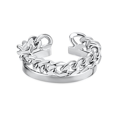 925 Sterling Silver Hip Hop Stacking Chain Band Open Finger Ring Adjustable For Men Women Girls Size 5-7 by Silbertale