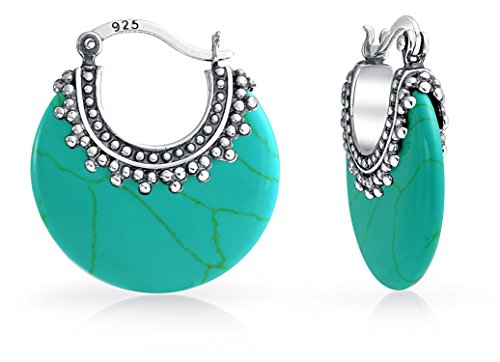 - Bali Style Tribal Stabilized Turquoise Boho Crescent Hoop Earrings For Women Oxidized Caviar Bead 925 Sterling Silver