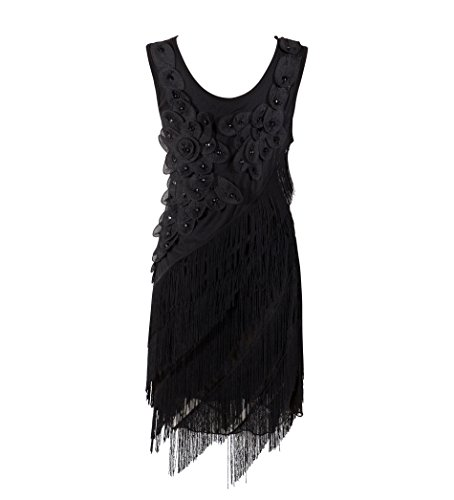 [Solatin Women's 1920s Gastby Inspired Sequined Embellished Fringed Flapper Dress Black L] (1920s Womens Fashion Costumes)