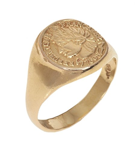 Coin Signet Ring, Handmade French Woman Imprint Seal Ring made from 14K Gold Plated Brass. Unisex Pinky Ring, Size US 6