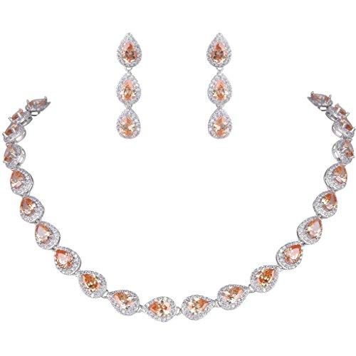 (EVER FAITH Women's Full CZ Elegant Teardrop Necklace Earrings Set Topaz Color Silver-Tone)