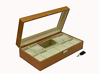 Laveri Faux Leather 8 Watches And Jewellery Box Glass Top For Unisex