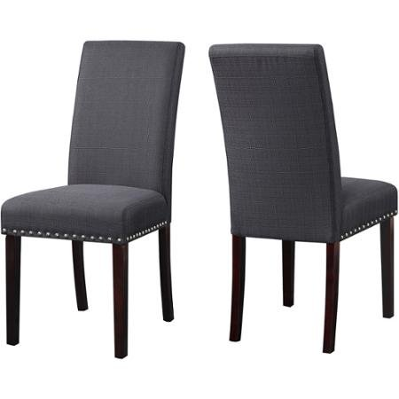 Amazoncom DHI Nice Nail Head Upholstered Dining Chair Set Of - Upholstered dining chairs uk