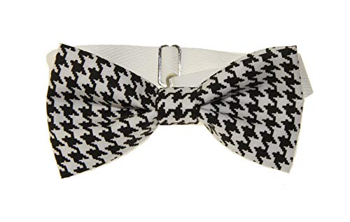 (Men's Black/White Houndstooth Pre-Tied Adjustable Cotton Bow Tie)