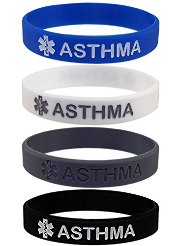 ASTHMA Medical Alert ID Silicone Bracelet Wristbands (4 Pack)