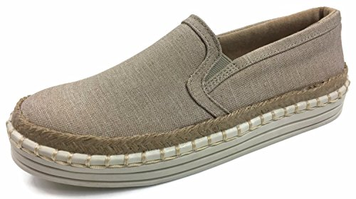 Fashion Slip On Sneakers Jute Trim Whip Stitch Canvas Linen, Lt. Taupe, 6.5 -