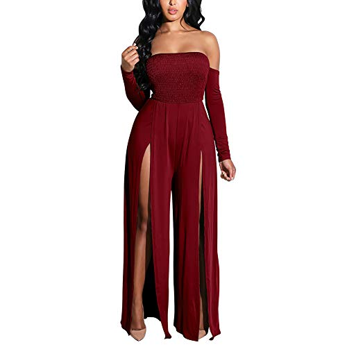 (PARTY LADY Womens Sleeveless Cocktail Wide Leg One Piece Jumpsuits Romper Playsuit Size L Wine Red)