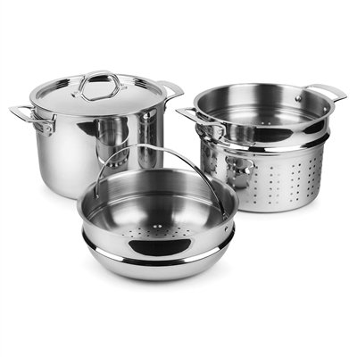 Viking 3-Ply Stainless Steel Pasta Pot with Steamer, 8 Quart by Viking Culinary