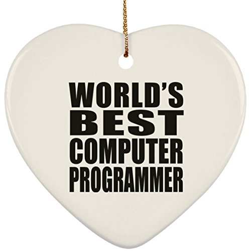 (Designsify World's Best Computer Programmer - Ceramic Heart Ornament, Christmas Tree Decor, Best Gift for Birthday, Anniversary, Easter, Valentine's Mother's Father's Day)