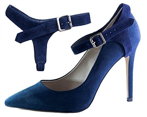 Oscuro Gamuza para sujetar taco alto Correas flojos Zapatos de Azul zapatos Removibles Eliza Para May ShooStraps tZq0wx60