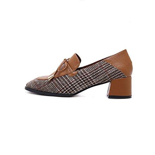 Dames Klassiek Kwastje Pumps Loafers Vierkante Teen Instappers Stuiver Loafer Blok Hak Jurk Oxford Schoenen Bruin