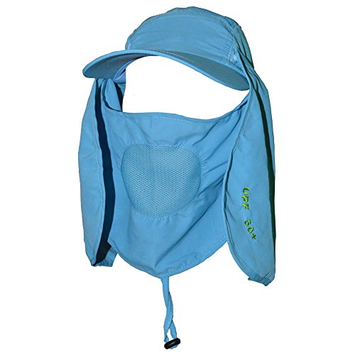 Qing Outdoor® UPF 50+ Summer Hat with Neck Protection Flap (Sky blue)