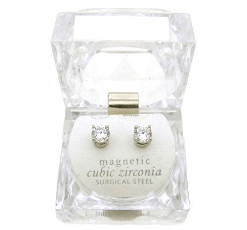 Silver Tone 4,5,6,7,8,9,10mm Clear Round Shape Cubic Zirconia Magnetic Stud Earring (All Size) (6mm (Hip Hop Magnetic Earrings)